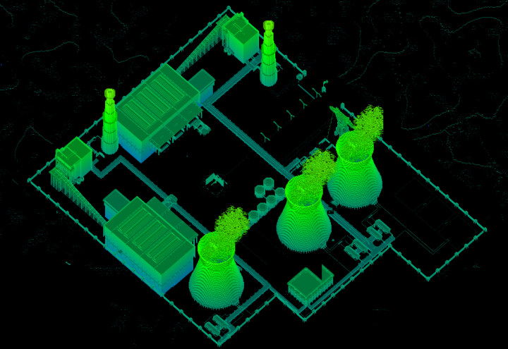 Terrain height map. The tunnel system can be accessed through the administration building, behind the two cooling towers at the bottom middle.