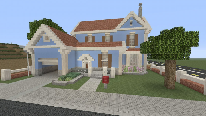 light blue suburban house minecraft project