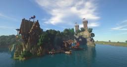 Mitelalter Haus, Hafen, Festung, Kran Minecraft
