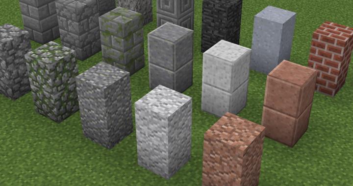 Granite - Diorite - Smooth Granite - Smooth Diorite - Bedrock - Mossy Cobblestone