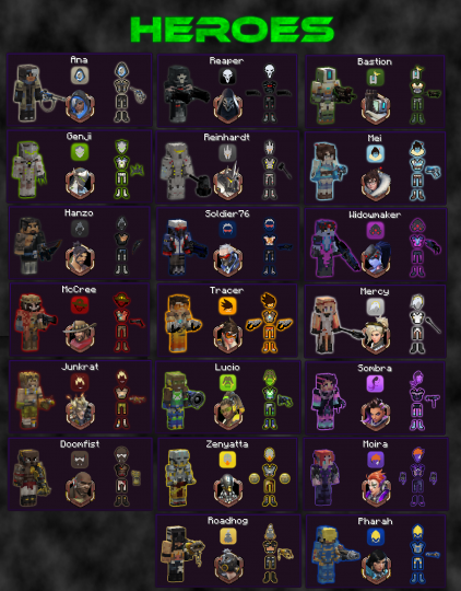 Each hero has a full set of armor, weapons, and a token.