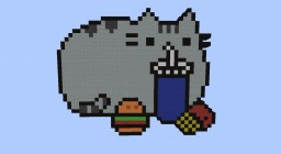 Pusheen with food Pixel Art Minecraft Map & Project