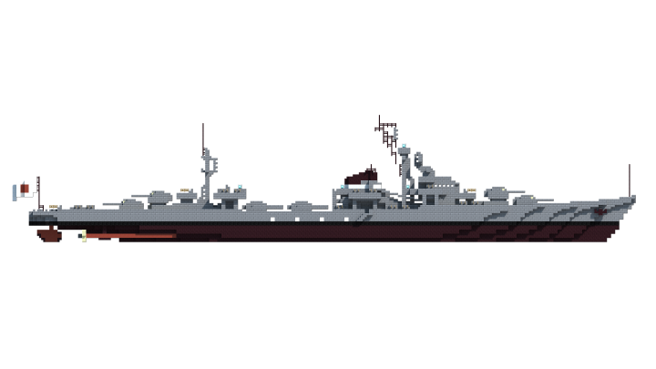 The profile reveals the ancestry of the Mugetsu class - a middle ground between the Akizuki and the Shimakaze,  mating the four turret profile of the former with the bridge structure and additional torpedoes of the latter.
