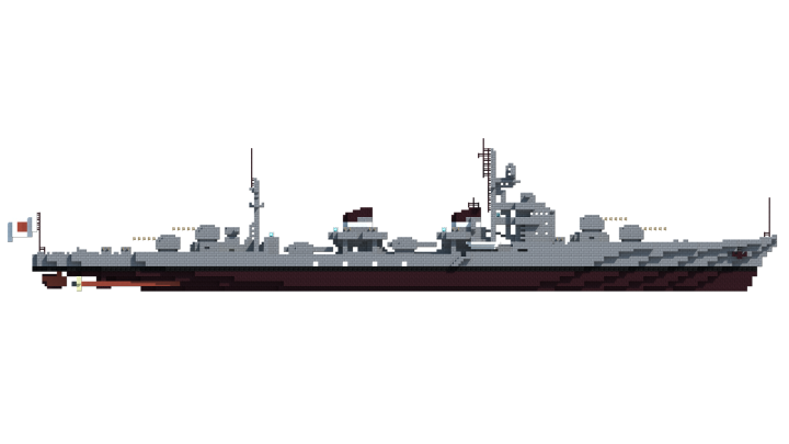 The profile of the Kirikaze-class combines the monolithic bridge of the Akizuki with the multiple funnels of the Shimakaze - a reverse of what can be seen on the Mugetsu-class.