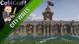 Medieval rustic city wall design + schematic Minecraft