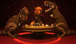 T-Rexes Playing Poker Minecraft