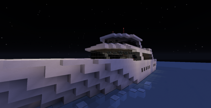 A frontal view of the ferry at night