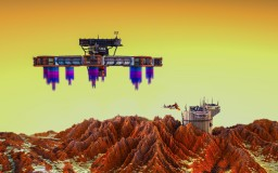 Landing on New Grounds | 500x500 Space Build Minecraft Map & Project