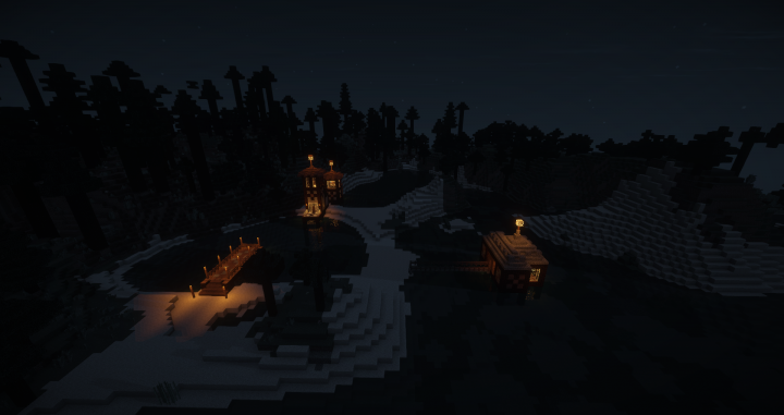The Lodge, The Dock, and The Spawn House at Night.