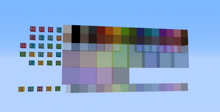 1x1 Improved Color Blocks Wool Terracotta Stained Clay Glass Glass Panes Minecraft Texture Pack