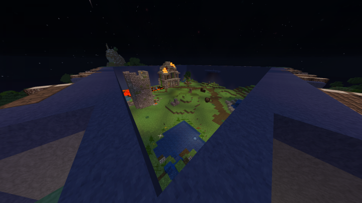 PvP Arena on top, blended perfectly from the outside so you wouldn't even know it was there. warp pvp