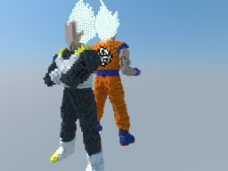 Son Goku SSJ Blue and Vegeta SSJ Blue Minecraft Map & Project