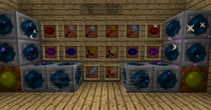 All of the items plus some blocks servers and adventure maps can use to give people the power crystals for speed, teleportation, and agility
