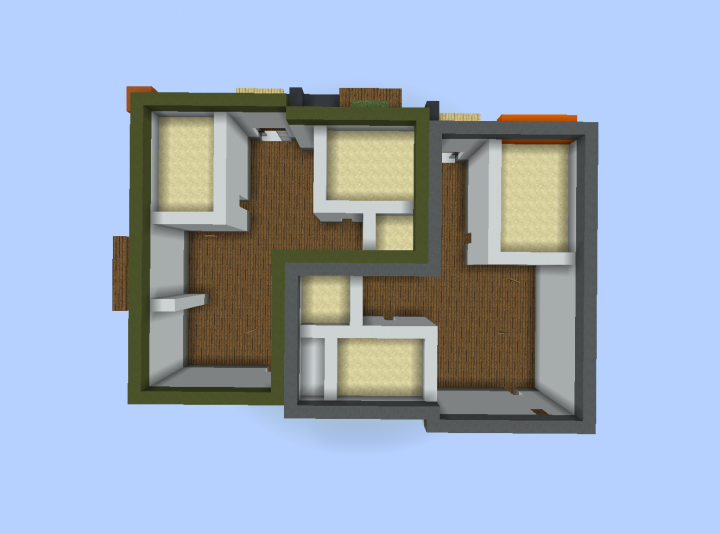 Apartment layout----- Each apartment is in an    r   shape crossed together.   Each comes with bathroom, guest bedroom and master bedroom.