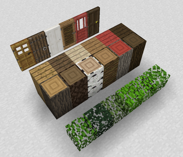 New logs, planks, doors, and leaves