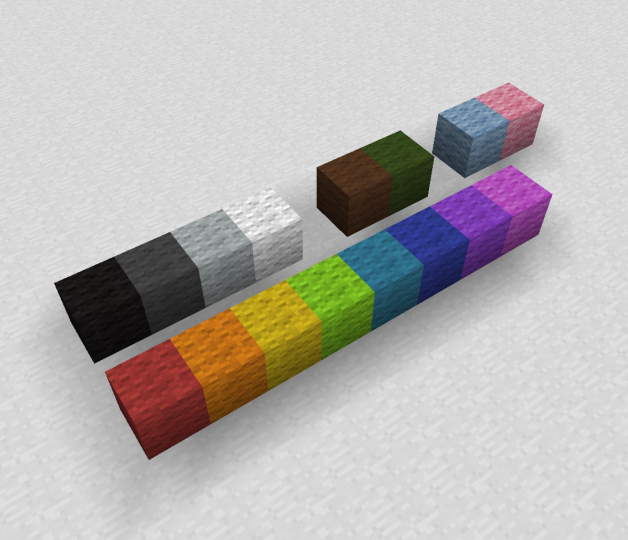 Edited wool textures -orange, yellow, lime, light blue-, along with pre-1.12 wool