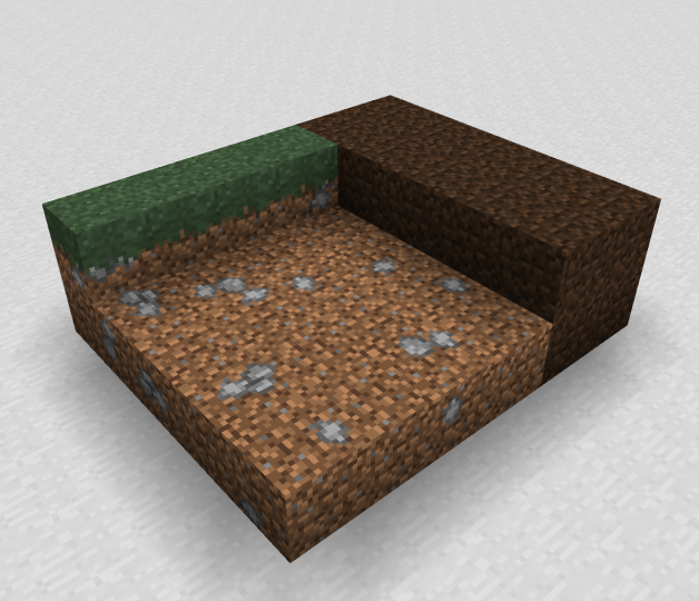 Longer side grass, dirt with stones, and new coarse dirt