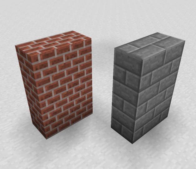 Bricks & Stone bricks have connected textures for more realistic corners & edges