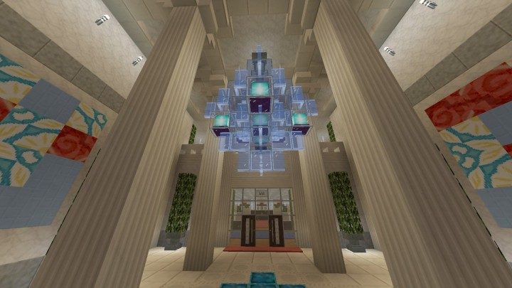 Main lobby. Chandelier makes this room stands out and the pillars support the structure.