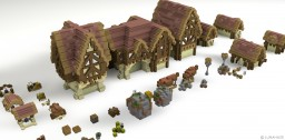 Medieval Town Bundle - [ 7 Houses + Assets ] Minecraft Map & Project