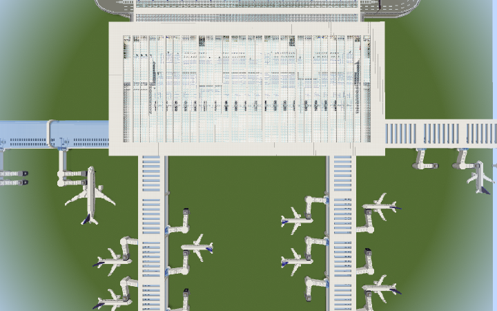 Aerial view of T1- Concourse A on left, B on bottom left, and C on right