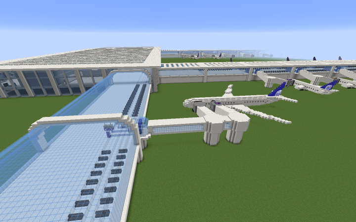 A 777 at gate A1 and a 737 at gate B2. All planes courtesy of Lord Dakr
