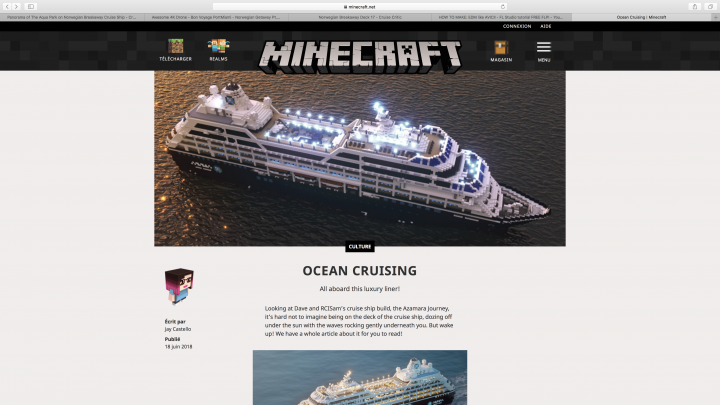 Azamara Journey's article on Minecraft.net!