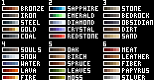 Block Palette Reference Chart