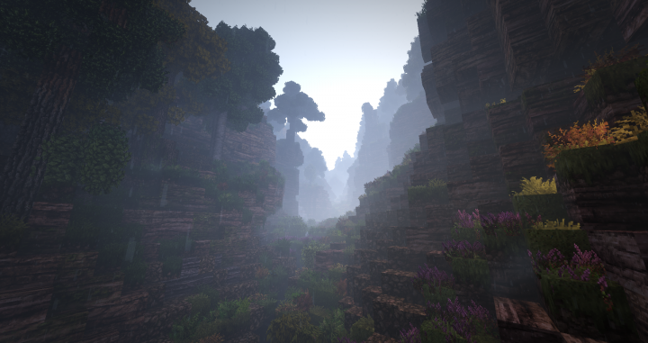 A steep-sided valley on a misty day