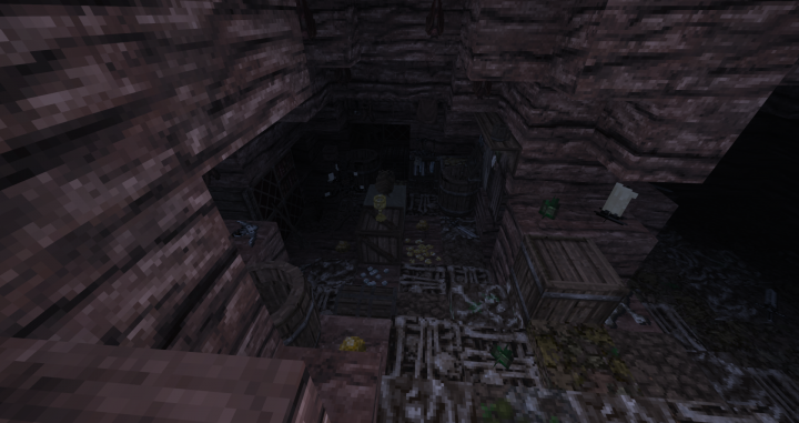 Its dingy interior, covered with bones, odds and ends, and scraps of treasure