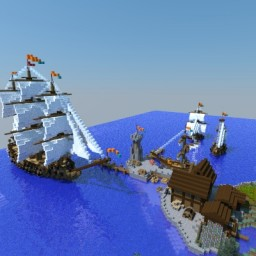 small medieval harbour Minecraft