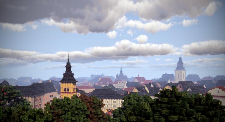 Blick auf Giessen. Von Links nach rechts Feuerwache Rathaus Stadtkirche.