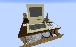 Retro Computer Desk w/Macintosh 128K Minecraft Map & Project