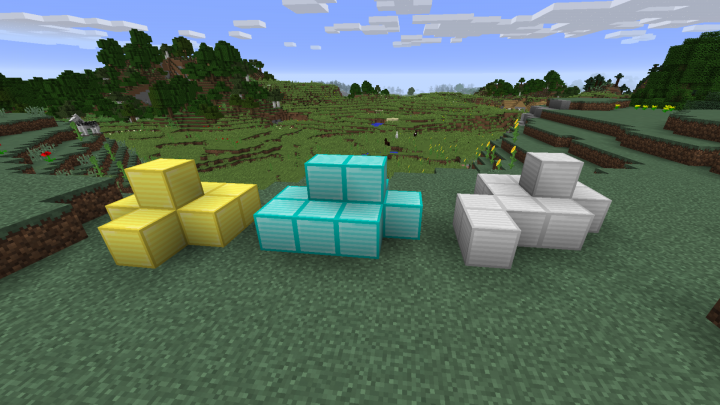 This is how gold, diamond and iron blocks look like
