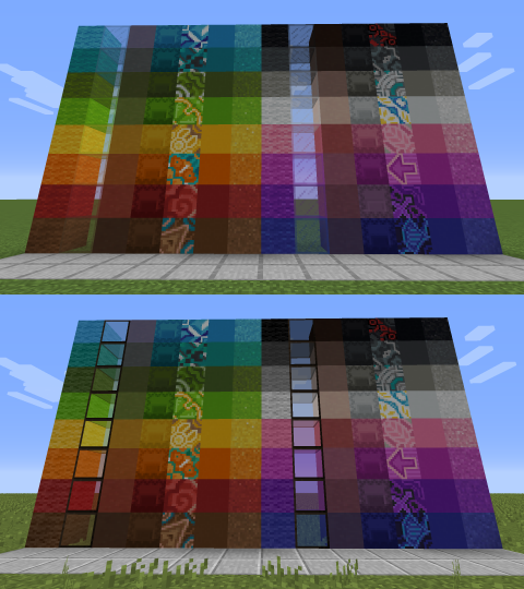 All dyed blocks in a sort of rainbow order. Original textures on top and my textures on bottom.