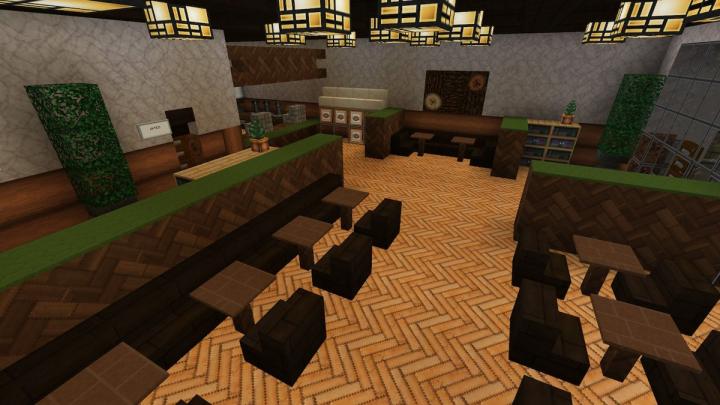 Dark Oak Cafe interior. Feels like a forest. BTW 2nd one in Lazuli city but bigger.