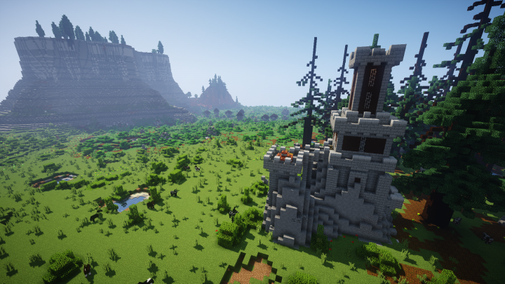 One of the hundreds of structures that can be found, conquered, and looted! This ones a small dungeon-like tower!