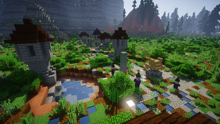 One of the hundreds of structures that can be found, conquered, and looted! This ones a witch village!