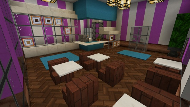 Chompy Donuts interior. The blocks on the item frames represent the donuts in the case to seem less empty.