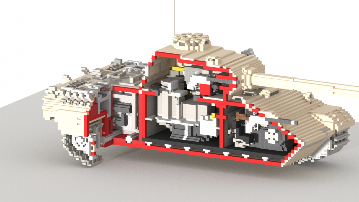 Cutaway view, showing the tank insides