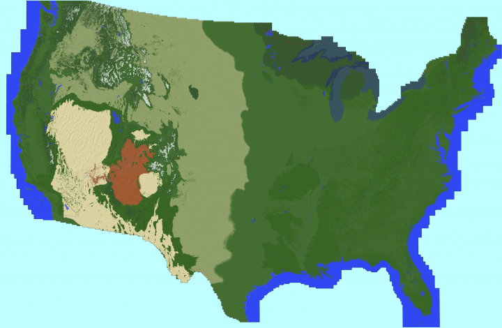 1 85 Scaled Map Of The Contiguous United States Minecraft Project
