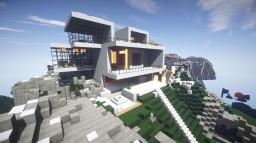 HILLSIDE MODERN MANSION WITH A BAR Minecraft Map & Project