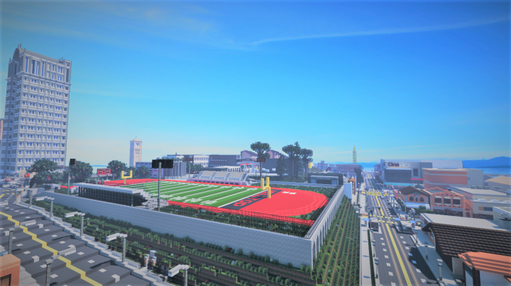 The Hilltop High School American football field and its vicinity. Rendering courtesy of Miner332.