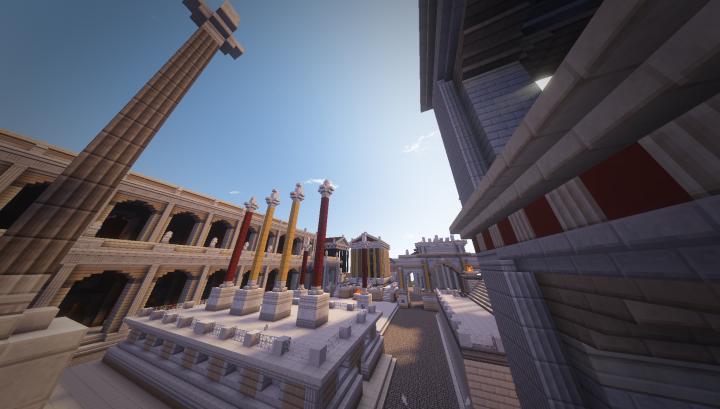 Facing towards the Temple of Julius Caesar middle, yellow columns