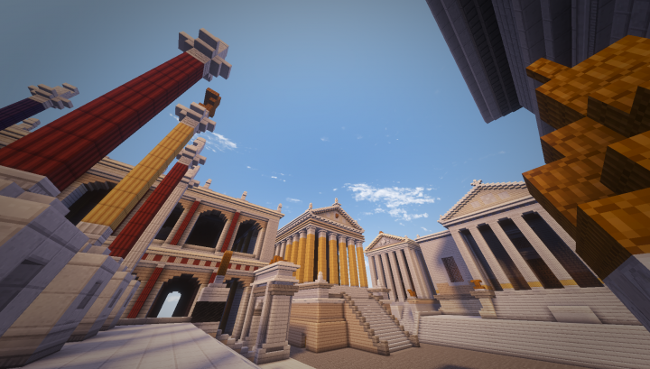 The Temple of Saturn center, yellow columns, Temple of Vespasian in the back, and the Temple of Concordia right