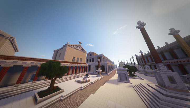 Another view of the Forum center and the Curia Julia, from the Rostra