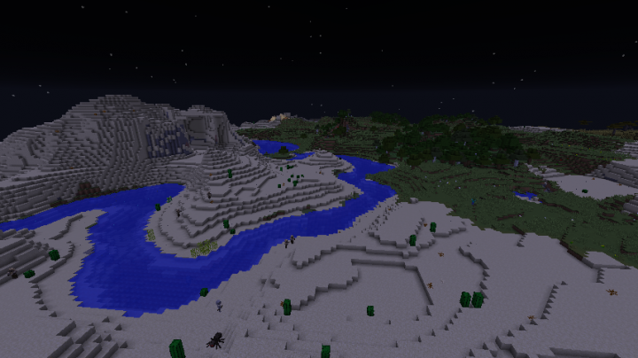 The calm yet dangerous desert at night. As you can see, this adventure will be very hard as mobs will be present at most times.