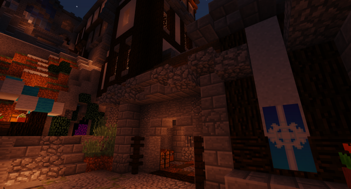 The small courtyards within the city walls are generally highly detailed.