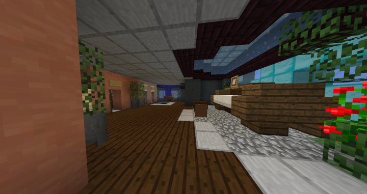 Here can you see th piano area, and entrace to the bathroom, the offic and the elevators.