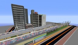 Japanese Station and Citiy Diorama Minecraft Map & Project